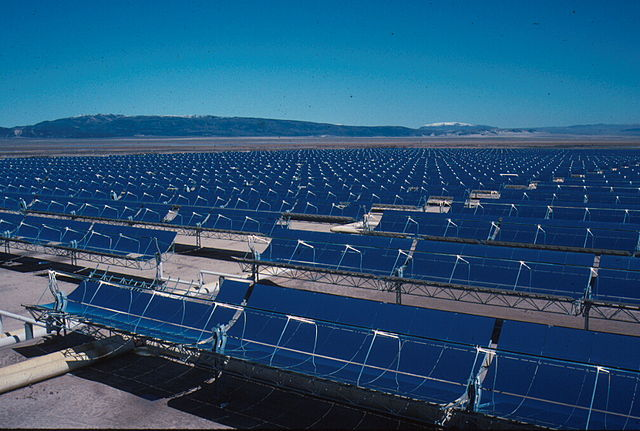 Concentrated solar technology employed at a U.S. site. The technology employed in Morocco uses similar energy-focusing technology. PHOTO: U.S. Bureau of Land Management, via Wikimedia Commons