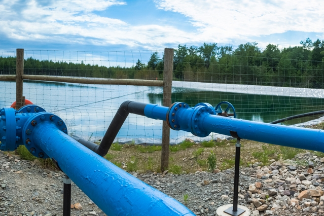 A holding pond for fracking water. Researchers say one application of the technology will be to clean water contaminated in the oil and gas extraction process. PHOTO: MIT
