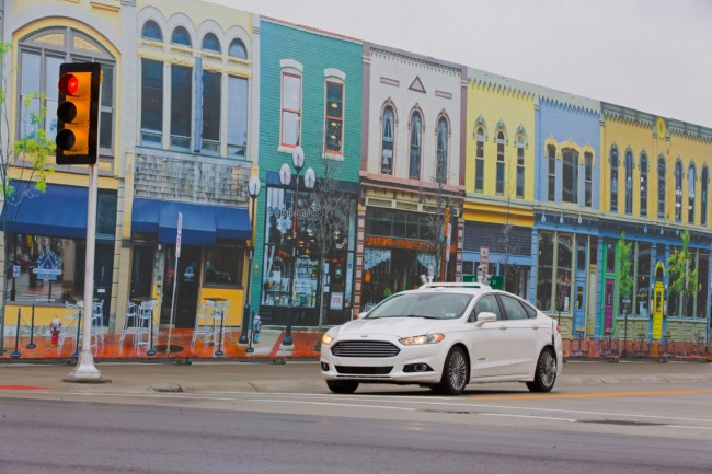 The Fusion Hybrid Autonomous Research Vehicle on the streets of Mcity. PHOTO: Ford