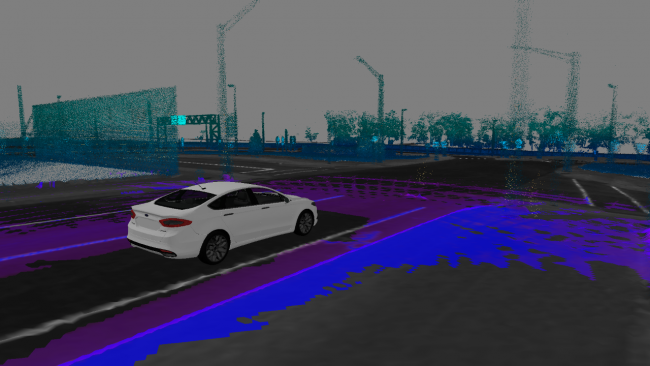 The 3D-mapped street-view the Ford autonomous vehicle sees as it navigates the roadway and identifies obstacles. PHOTO: Ford