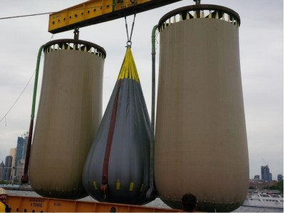 "Three of Hydrostor's underwater ""balloon"" prototypes. PHOTO: Toronto Hydro"
