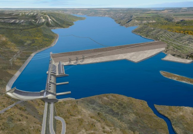 Rendering of B.C's Site C dam. The project will be located on the Peace River in northwest B.C. PHOTO: BC Hydro