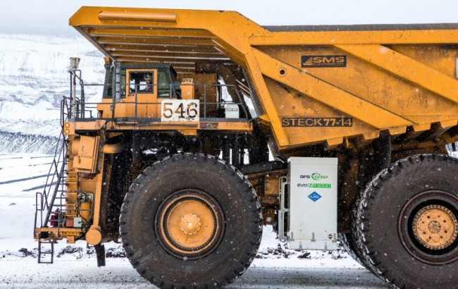 One of the haul trucks at Teck's Fording River Operations in southeast B.C. retrofitted to use LNG fuel. PHOTO: Teck