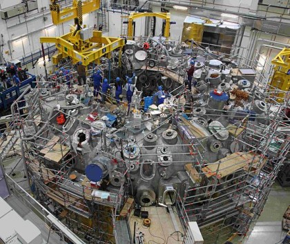 Construction of the Wendelstein 7-X. The project took more than nine years and one million installation hours to complete. PHOTO IPP