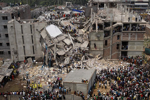 Aerial shot showing the aftermath of the Dhaka Savar Building Collapse in 2013. PHOTO: Rijans, via Wikimedia Commons