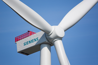 Prototype of the 150 wind turbines with a capacity of 4 megawatts Seimens will deliver to the Dutch offshore wind power plant in the North Sea. PHOTO: Siemens