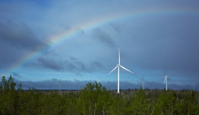 Enbridge's 99 megawatt Greenwich Windfarm on the north shore of Lake Superior. Cap and trade systems are designed to make renewable projects more economical by putting a price on carbon emissions. PHOTO: Enbridge