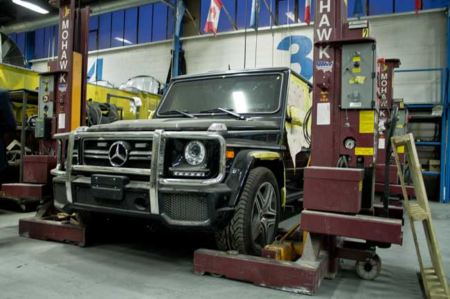 A Mercedes SUV undergoing the Inkas transformation. The company retrofits vehicles with armour and other features for the governments and the private security industry. PHOTO: David Kenndy