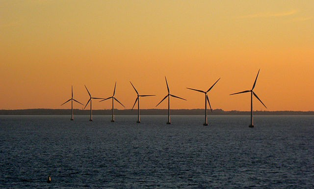 Offshore wind farms benefit from higher wind speeds than their land-based counterparts, often allowing them to generate more power. PHOTO: Kikos, via Wikimedia Commons