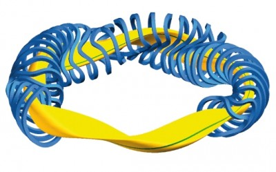 Scheme of coil system (blue) and plasma (yellow) of the Wendelstein 7. PHOTO: IPP