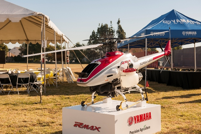 The Yamaha RMAX. Introduced in 1997, the remotely-piloted helicopter treats 2.4 million acres of farmland in Japan each year. PHOTO: Yamaha