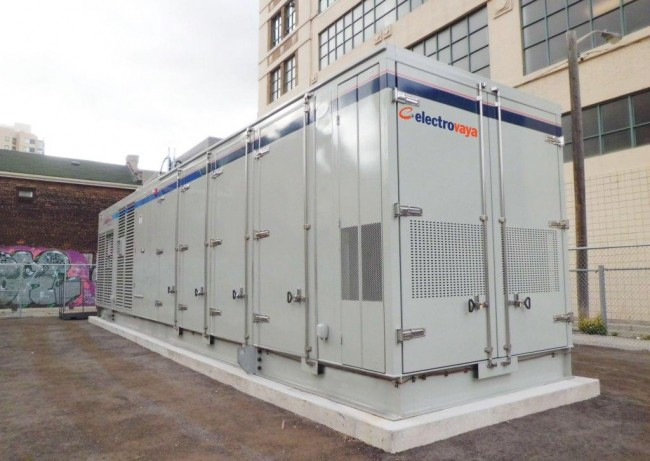 Electrovaya's energy storage system that was recently delivered to Toronto Hydro for use in their Smart Grid. The battery solution allows utilities and cities to better utilize renewable energy by storing electricity off-peak for use later. PHOTO: Electrovaya
