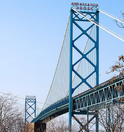 The Ambassador Bridge, which connects Detroit, Mich. to Windsor, Ont. The route is one of the most important shipping arteries in the world. PHOTO: Patricia Drury, via Wikimedia Commons