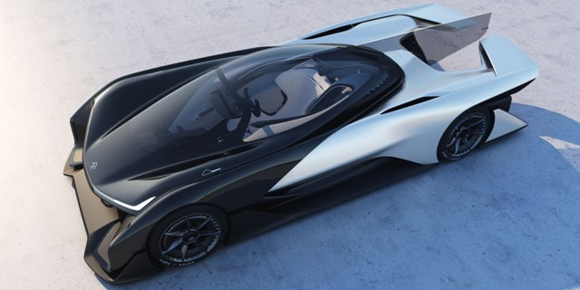 Faraday Future's 1,000 horsepower FFZERO1 Concept. The automaker, which has yet to produce a vehicle says the car will go from 0-60 mph in under three seconds and at speeds exceedingly 200 mph. PHOTO: Faraday Future