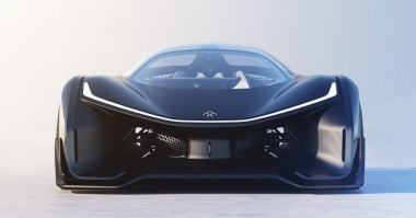 The front end of the new vehicle, described as a Corvette crossed with the Batmobile. PHOTO: Faraday Future