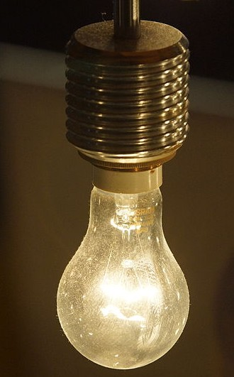 A traditional incandescent bulb, which uses a tungsten filament to create visible light. The MIT researchers are working to improve the old technology. PHOTO:  Sasha Taylor, via Wikimedia Commons.