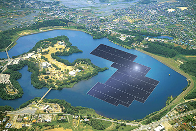 Japan's Kyocera Corp. has begun construction on the world's largest floating solar plant. PHOTO: Kyocera