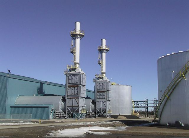 Firebag steam generators at Suncor's in situ site. The company is developing cleantech alternatives to minimize water usage and greenhosue gas emissions while generating steam. PHOTO: Suncor