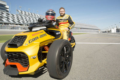 NASCAR Sprint Cup Series Driver Jeffrey Earnhardt Sits on the Recently-Unveiled Can-Am Spyder F3 Turbo Concept Vehicle. PHOTO: BRP via CNW Group