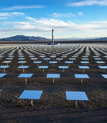 10,347 heliostats collect and focus the sun's thermal energy to heat molten salt flowing through the project's 640-foot (195-metre) tall tower. PHOTO: SolarReserve