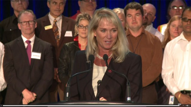 Ford of Canada CEO Dianne Craig making comments at a 2013 announcement at the Oakville Assembly Plant. This image was taken from a video distributed by Ford.