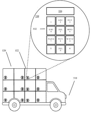 One of the patented designs, which uses package compartments that would require a pin or some other form of security clearance to open. PHOTO: U.S. Patent Office