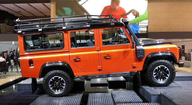 A land Rover Defender at the Geneva Motor Show 2015. Photo: Norbert Aepli