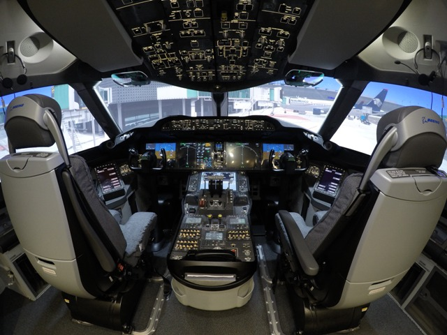 A cockpit view of Lockheed Martin's Boeing 787 simulator. PHOTO: LMCFT