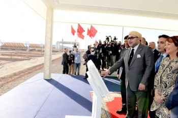 King Mohammed VI inaugurates the Noor 1 plant. PHOTO: Moroccan American Center for Policy