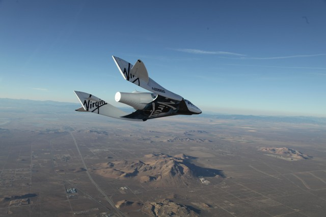The company's SpaceShipTwo during an unpowered flight over the Mohave Desert in the U.S. PHOTO: Virgin Galactic