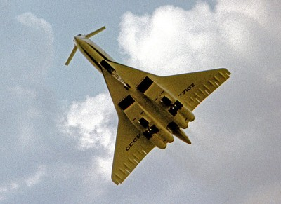 The Tupolev Tu-144 on display prior to its crash at the 1973 Paris Air Show. The moustache canards on the plane's nose were  designed to improve control at low speeds. PHOTO: RuthAS, via Wikimedia Commons