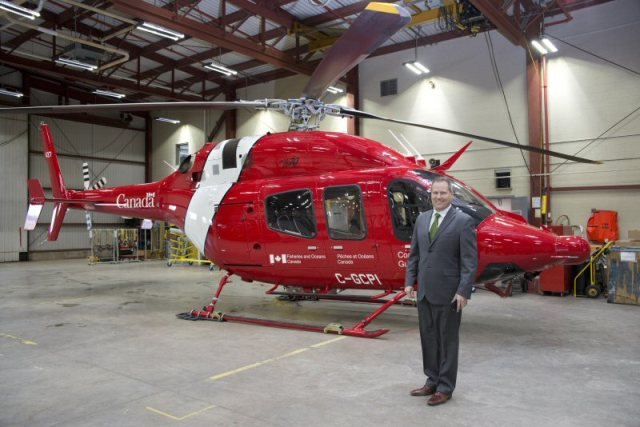 MP Darren Fisher on hand at the Canadian Coast Guard hanger where the last of the new light-lift helicopters was delivered. PHOTO: Fisheries and Oceans Canada