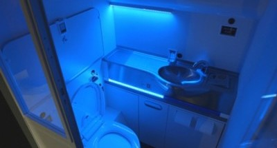 The aerospace company's self-cleaning washroom still requires further study before being made available to airlines. PHOTO: Boeing