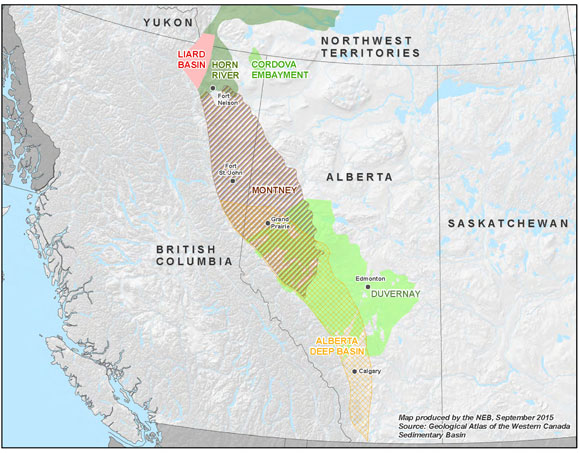 Location of the Liard Basin as it relates to other major Western Canada gas fields. PHOTO: NEB