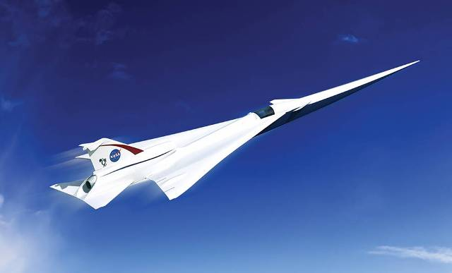Artist conception of the Low Boom Flight Demonstration Quiet Supersonic Transport (QueSST) X-plane design. PHOTO: Lockheed Martin
