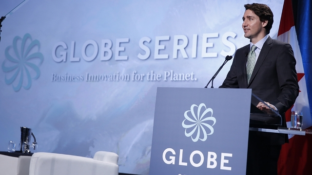 Prime Minister Justin Trudeau delivers the keynote address at the Globe 2016 cleantech conference. PHOTO: Prime Minister's Office