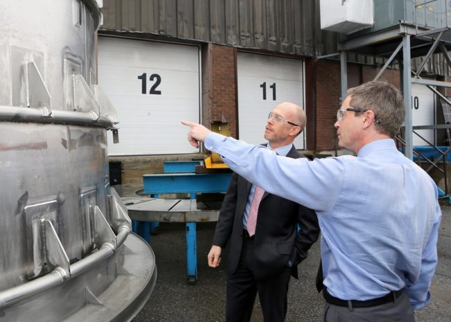 Vice-president Tom Davis at WR Davis' Ottawa facility with BAE's Ric Elkington. PHOTO: BAE