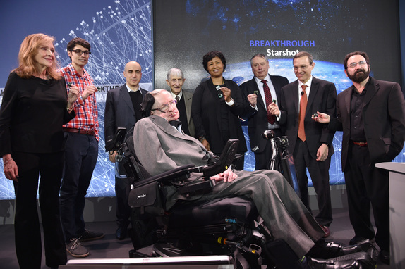 (L-R)Ann Druyan, Producer, Co-Founder and CEO of Cosmos Studios; Zac Manchester, Post-Doctoral Fellow, Harvard University; Yuri Milner, Breakthrough Prize and DST Global Founder; Stephen Hawking, CH, CBE, FRS, Dennis Stanton Avery and Sally Tsui Wong-Avery Director of Research, University of Cambridge; Freeman Dyson, Emeritus Professor, Princeton Institute for Advanced Study; Mae Jamison, Nasa Astronaut, Principal 100 Year Starship Foundation; Peter Worden, Chairman, Breaktrough Prize Foundation, Former NASA Director; Avi Loeb, Frank B. Baird, Jr. Professor of Science at Harvard University; and Philip Lubin, UC Santa Barbara Physics Professor. PHOTO: Bryan Bedder/Getty Images for Breakthrough Prize Foundation