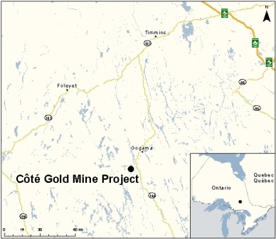 Location of the Côté Gold project in central Ontario. PHOTO: Canadian Environmental Assessment Agency
