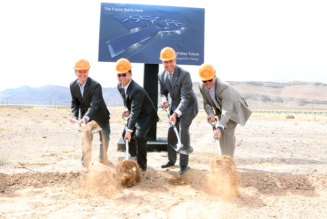 The enigmatic company's brass broke ground on the manufacturing earlier this year. PHOTO: Faraday Future