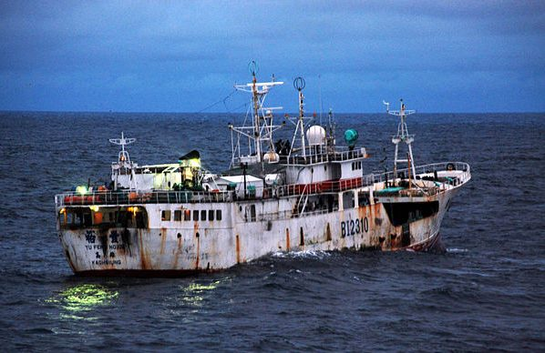 A Taiwanese-flagged boat suspected of illegal fishing off the coast of Africa. It's estimated 30 per cent of the global catch is fished illegally.
