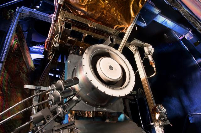 A 13-kilowatt Hall thruster being evaluated at NASA's Glenn Research Center in Cleveland. PHOTO: NASA