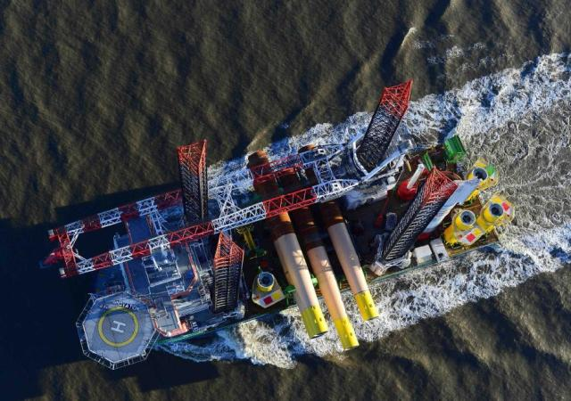 Crews transport foundation materials to the offshore wind site during the construction phase. PHOTO: Nordsee One