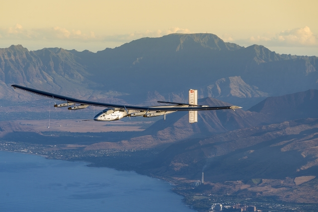 Solar Impulse 2 over Hawaii during a maintenance flight. The solar-plane is now ready to resume its attempt to fly around the world. PHOTO: Solar Impulse