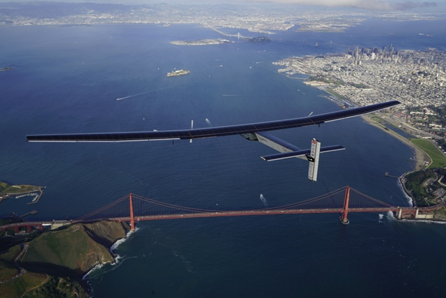 Solar Impulse 2 over San Francisco. The plane touched down just south of the city after a 62-hour fuel-less flight from the Hawaiian Islands. PHOTO: Solar Impulse