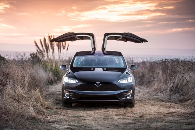 The falcon-winged Tesla Model X. 2,600 vehicles have been delivered since Sept. of last year. PHOTO: Alexis Georgeson/Tesla