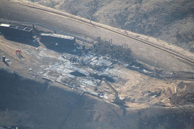 Aerial view of the Aliso Canyon gas leak, two months after the incident began. PHOTO: EARTHWORKS