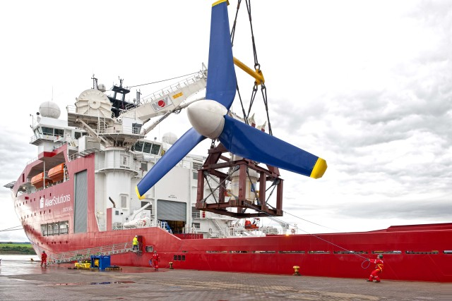 An Atlantis Resource Corp. 1.5-megawatt tidal turbine being deployed off Scotland. The technology is also slated for deployment in the Bay of Fundy. PHOTO: FORCE
