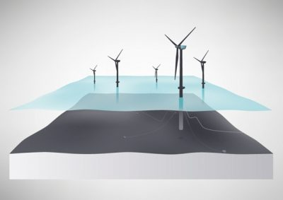 An illustration of Statoil's planned Hywind floating wind project. Deep-water floating turbines use a combination of undersea ballast and mooring cables to remain in place. PHOTO: Statoil