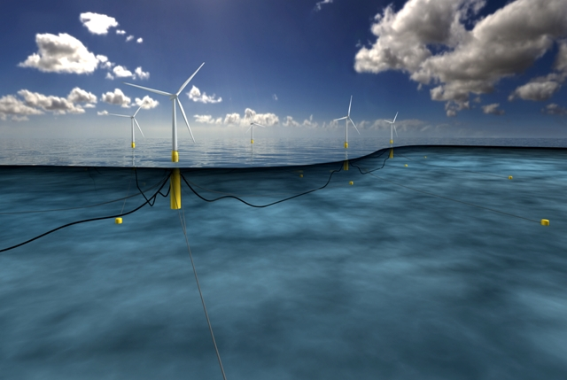 Statoil's 30 MW pilot project will consist of five, 6 megawatt floating turbines operating in waters deeper than 100 metres. PHOTO: Statoil